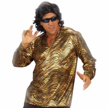 Disco shirt goud heren