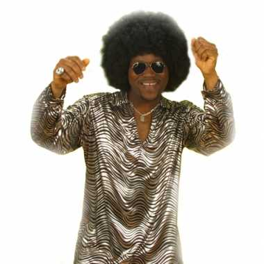 Disco shirt zilver heren