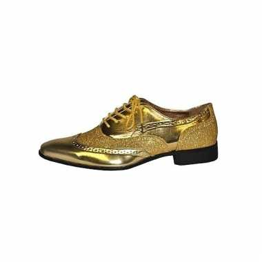 Seventies disco party schoenen goudkleurig heren