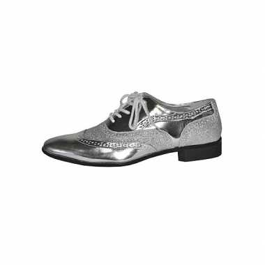 Seventies disco party schoenen zilver heren